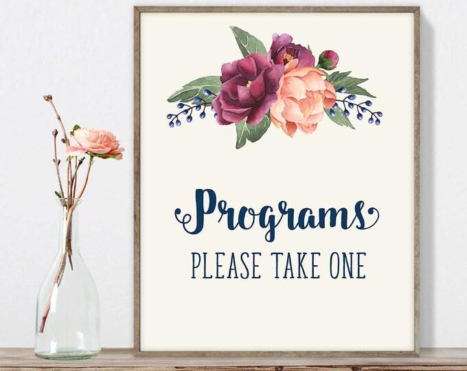 Wedding Programs Sign DIY, Please Take One / Burgundy Peony Berry Bouquet, Peach Blush Pink Ranunculus, Fall Wedding ▷ Instant Download JPEG
