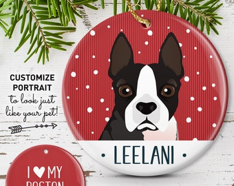 Boston Terrier Ornament, Personalized Pet Portrait Christmas Ornament, Custom Pet Illustration, Unique Gift for Pet Lover