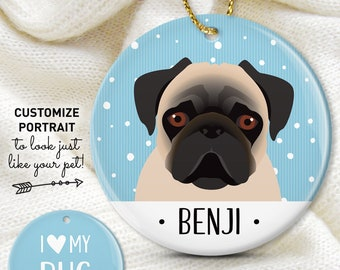 Pug Christmas Ornament, Personalized Ornament with Custom Pet Cartoon, Unique Gift for Dog Parents