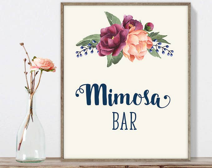 Mimosa Sign DIY, Wedding Mimosa Bar Sign / Burgundy Peony Berry Bouquet, Peach Blush Pink Ranunculus, Fall Wedding ▷ Instant Download JPEG