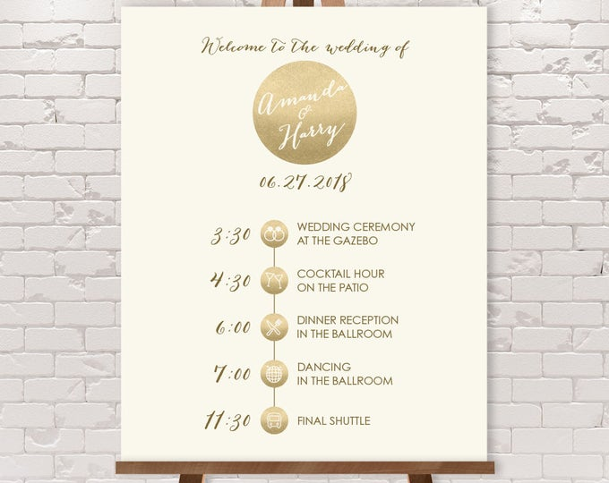 Wedding Timeline Sign / Wedding Itinerary Agenda with Icons / Metallic Gold and Cream Wedding Sign ▷ Printable File {or} Printed & Shipped