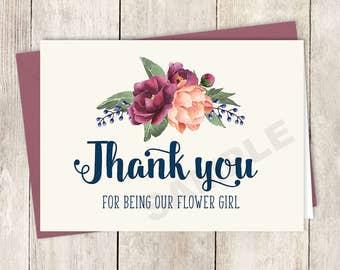 Thank You... Flower Girl Card DIY Printable / Burgundy Peony Berry Bouquet, Peach Blush Pink Ranunculus, Fall Wedding ▷ Instant Download PDF