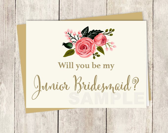 Junior Bridesmaid Proposal, Bridesmaid Proposal Card Printable, Be My Junior Bridesmaid Card, DIY Card, Instant Download Printable PDF