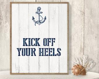 Kick Off Your Heels // Flip Flop Basket Sign DIY // Wedding Dance Poster // Nautical Navy Anchor PDF // Nautical Planks ▷ Instant Download