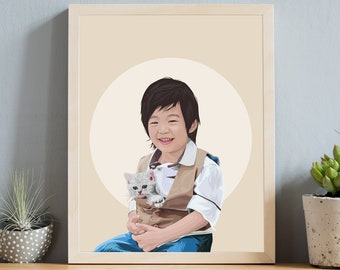 Custom child portrait with pet. Earthy hygge illustration from photo. Neutral illustration of boy with kitten. Personalized gift art print.