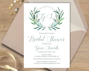 Greenery Bridal Shower Invitation / Eucalyptus Crest / Initial Monogram Crest, Eucalyptus Leaves  ▷ Printed Heavy Paper {or} Printable