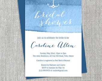 Nautical Bridal Shower Invitation / Ombre Navy Watercolor Bridal Shower Invite  ▷ Printed Heavy Paper {or} Printable