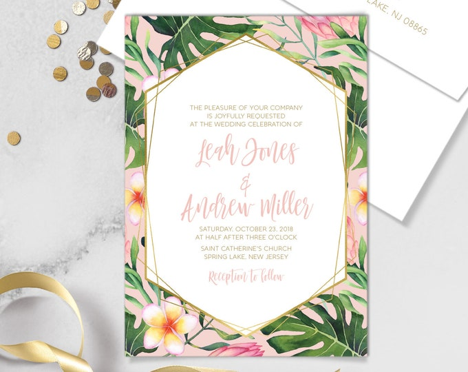 Tropical Wedding invitation Blush and Gold – Palm Leaf Wedding Invitation with Greenery for Tropical Wedding or Destination Wedding Invites