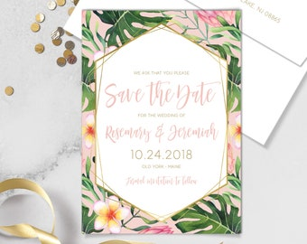 Tropical Save The Date / Pink and Gold, Tropical Leaf Print, Palm Leaves / Blush Save The Date / Personalized Customizable Printed Cards