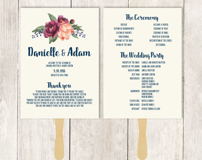 Rustic Wedding Program Fan DIY / Burgundy Peony Berry Bouquet, Peach Blush Pink Ranunculus  ▷ Printable {or} Printed *** ASSEMBLY REQUIRED