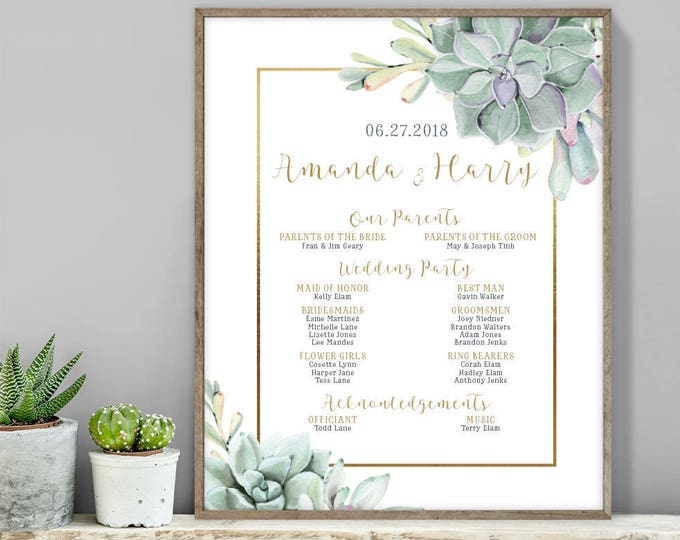 Succulent Wedding Welcome Sign / Bridal Party Sign / Greenery and Gold / Green Cactus and Gold ▷ Printable File {or} Printed & Shipped