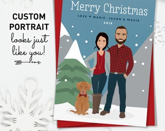Portrait Christmas Card, Custom Family Portrait, Cartoon Couple with Dog Illustration, Printed Holiday Cards 5x7