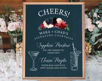 Rustic Cocktail Sign, Signature Cocktail Sign, Wedding Bar Sign, Burgundy Navy Boho Drink Sign > PRINTED Sign for Wedding or Printable Sign