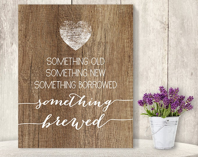 Something Brewed Sign // Rustic Wedding Bar Sign DIY // Rustic Wood Sign, White Calligraphy Printable PDF, Rustic Poster ▷ Instant Download