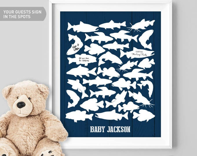 Fishing Guest Book Alternative / Freshwater Fish / Salmon Trout Carp Pike Bass / Fishing Poster / White & Navy ▷Canvas, Paper {or} Printable
