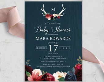 Rustic Baby Shower Invitation, Burgundy Navy Boho Shower Invite, Marsala Blush Flowers and Antlers, PRINTED INVITATION or printable invite