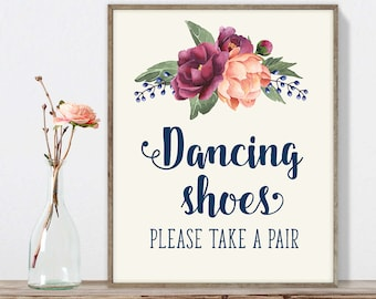 Dancing Shoes Sign DIY, Flip Flops Sign / Burgundy Peony Berry Bouquet, Peach Blush Pink Ranunculus, Fall Wedding ▷ Instant Download JPEG