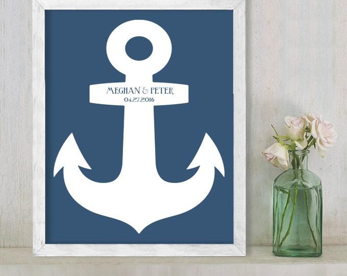 Wedding Guest Book Alternative Poster / Navy Nautical Anchor / Wedding Sign ▷ Printable File {or} Printed & Shipped