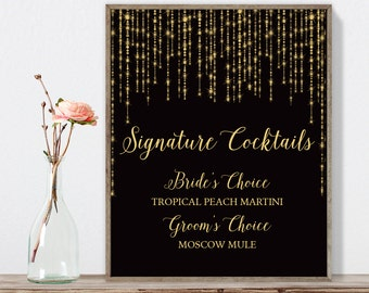 Elegant Signature Cocktail Sign / Bar Sign / Great Gatsby Bokeh String Light / Black and Gold ▷ Printable File {or} Printed & Shipped