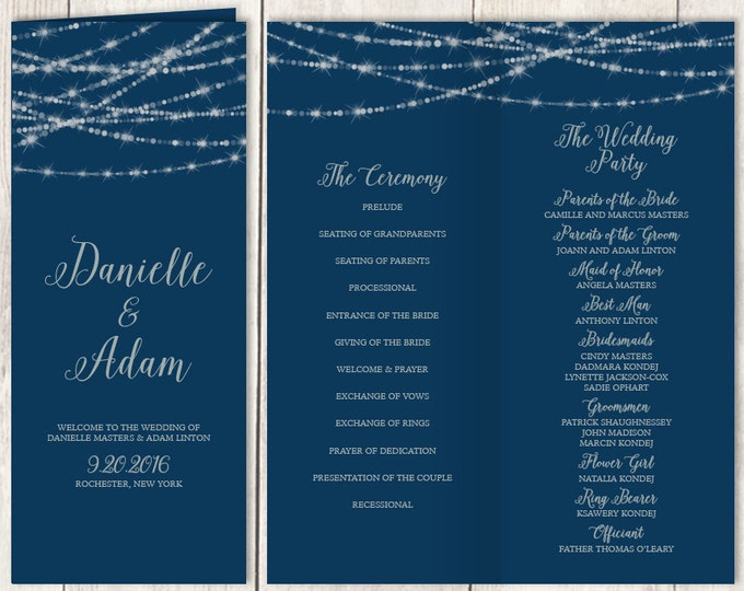 Elegant Folding Wedding Program DIY / Festive Bokeh String Light Sparkle / Navy and Silver / Bridal Party, Ceremony Schedule ▷Printable PDF