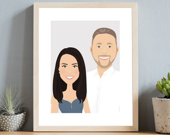 Personalized gift for husband or wife. Custom couple portrait drawing from photo. Boho wall art illustration. First paper anniversary gift.