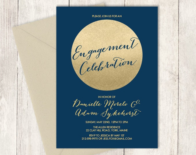 Gold Engagement Party Invitation DIY / Gold Sparkle Glitter Engagement Invite / Metallic Gold and Navy  ▷ Printable PDF Invite