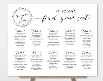 Floral Wedding Seating Chart Sign / Rustic Wedding Sign / Rustic Lavender Wreath Flower Twig Sign ▷ Printable File {or} Printed & Shipped