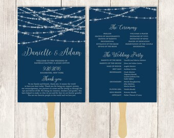 Elegant Wedding Program Fan DIY / Festive Bokeh String Light / Navy and Silver / Schedule ▷ Printable {or} Printed *** ASSEMBLY REQUIRED