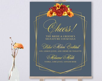 Fall Signature Cocktail Sign / Alcohol Drink Bar Sign / Red Rose Flower, Calla Lilly, Gold Geometric ▷ Printed Paper, Canvas {or} Printable