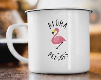 Aloha Beaches Flamingo Mug, Funny Camping Mug for Tea or Coffee, Tropical Flamingo Humor, Camper or Beach Bum Gift Idea