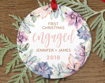 First Christmas Engaged, Succulent Engagement Ornament, Engagement Gift for Couple, Pink and Purple Succulent