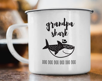 Grandpa Shark Mug, Funny Gift For Grandfather, Gift Idea under 20, Funny Coffee Mug, Black and White Scandinavian Tea Mug