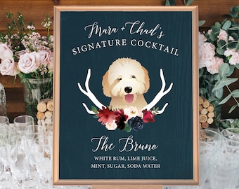 Rustic Pet Portrait Drink Sign, Custom Dog Wedding Bar Sign, Burgundy Navy Boho Signature Cocktail Canvas > PRINTED Bar Sign or Printable