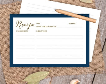 Gold and Navy Card // Elegant Calligraphy 4x6 Recipe Card DIY // Bridal Shower Card, Kitchen Shower Printable PDF ▷ Instant Download