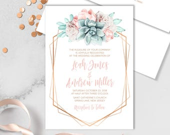 Succulent Wedding Invitation / Blush Flower Succulent Bouquet Faux Metallic Copper Watercolor Cactus ▷Printed Invitation or Printable Invite