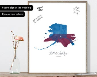 States Guest Book Alternative Canvas, Rustic Guest Book Sign, Purple Wedding Guestbook Map
