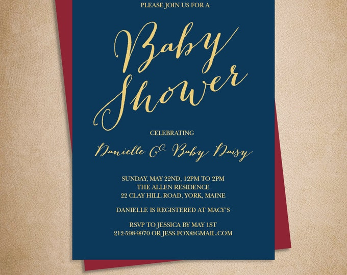 Elegant Baby Shower Invitation DIY / Gold Calligraphy on Navy Printable PDF / Navy and Gold / Modern Calligraphy ▷ Baby Invite Printable PDF