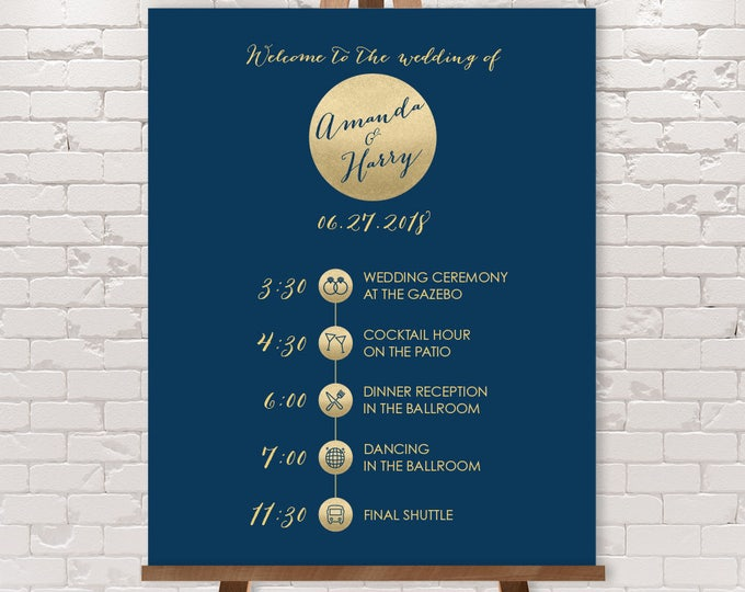 Wedding Timeline Sign / Wedding Itinerary Agenda with Icons / Metallic Gold and Navy Wedding Sign ▷ Printable File {or} Printed & Shipped