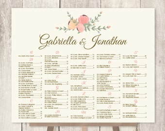 Alphabetical Seating Chart Sign / Pastel Wedding Sign / Pastel Flower, Peach, Cream, Coral, Sage  ▷ Printable File {or} Printed & Shipped