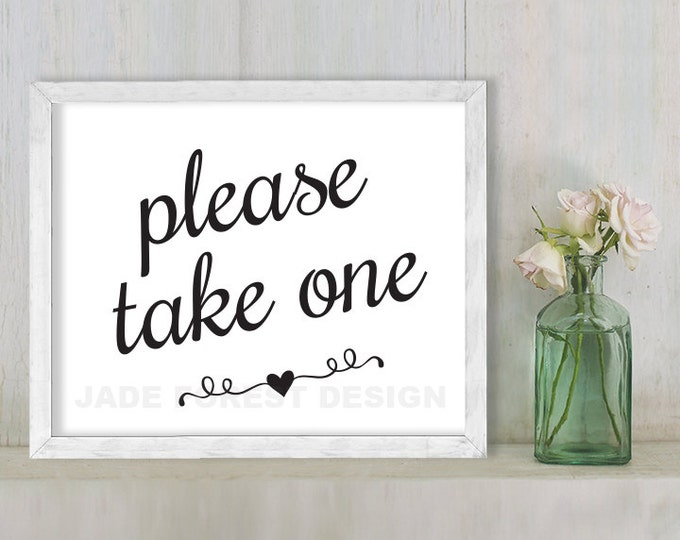 Please Take One // Wedding Sign DIY // Elegant Calligraphy Printable Poster PDF // Classic Elegance ▷ Instant Download
