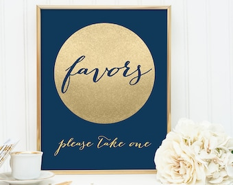 Favors Sign DIY / Please Take One / Navy and Gold Wedding Sign / Metallic Gold Sparkle Circle / Champagne Gold ▷ Instant Download JPEG