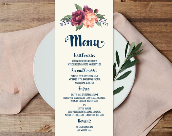 Gold Menu Card / Wedding Menu / Burgundy Peony Berry Bouquet, Peach Blush Pink Ranunculus, Fall ▷ Printable File {or} Printed & Shipped