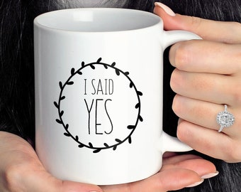 """Engagement Mug Personalized, Minimalist Engagement Gift Idea under 25, Custom Name """"I Said Yes"""" Coffee Mug, Black & White Farmhouse"""