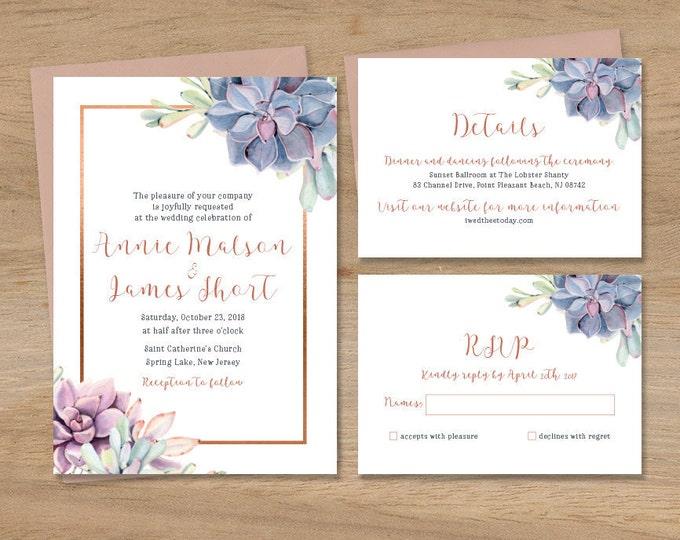 Succulent Wedding Invitation Set / Greenery and Rose Gold Geometric / Cactus Copper Invite Set ▷ Printed Wedding Invitations {or} Printable