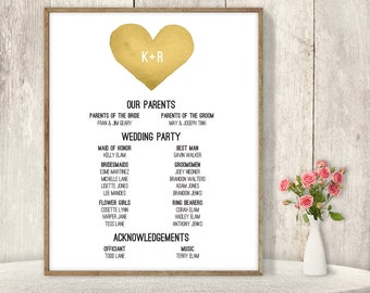 Wedding Welcome Sign DIY / Wedding Party Sign, Bridal Party Program / Gold Watercolor Heart ▷ Printable File {or} Printed & Shipped