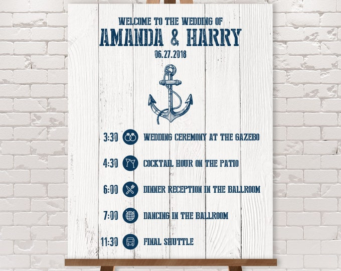 Wedding Timeline Sign / Wedding Itinerary Agenda, Icons / Nautical Planks / Nautical Sign, Navy Anchor▷Printable File {or} Printed & Shipped