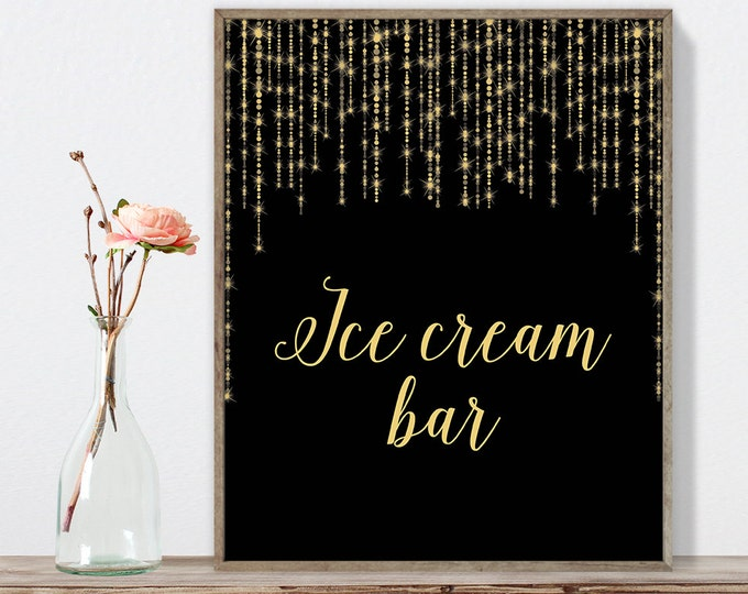 Ice Cream Bar Sign DIY / Gold Wedding Sign / Great Gatsby, Bokeh String Light / Black and Gold Calligraphy ▷Instant Download JPEG