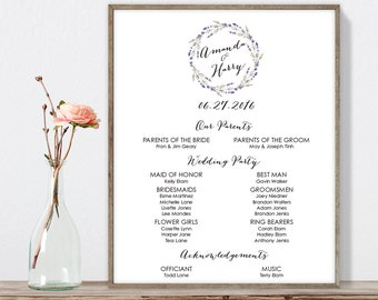Rustic Wedding Welcome Sign DIY / Wedding Party Sign, Bridal Party / Purple Flowers, Lavender Wreath ▷ Printable File {or} Printed & Shipped