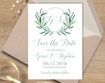 Greenery Save The Date / Eucalyptus Crest / Initial Monogram Crest, Eucalyptus Leaves, Olive ▷ Printed Wedding Invitations {or} Printable