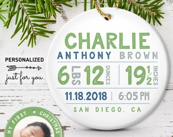 Green Ornament, Baby First Christmas Ornament, Baby Boy Birth Stats, Grandma Gift Idea, Green Navy and Gray